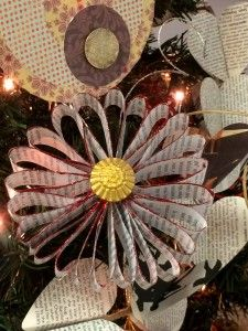 Ornaments we made from pages of old law books!