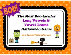 This Boo-tacular Halloween Game focuses on Long Vowels & Vowel Team spelling skills. (18 pages/108 cards)  Lay the cards face down in a stack. Students take turns choosing a card off of the top of the deck. If the student reads the word correctly, the card is kept. The object of the game is to collect the most cards.