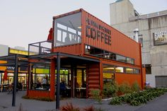 Shipping container architecture is a form of architecture using steel intermodal containers (shipping containers) as structural eleme. Container Home Designs, Café Container, Container Coffee Shop, Container House Plans, Shipping Container Store, Shipping Container Restaurant, Shipping Container Buildings, Shipping Container Design, Shipping Containers