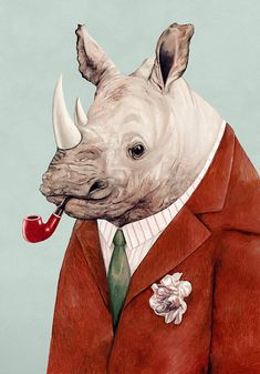 Rhinoceros Art Print Rhino Illustration Animals in by AnimalCrew