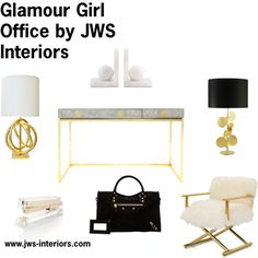 """Glamour Girl Office by JWS Interiors"" by jennifer-wagner-schmidt on Polyvore gold office accessories, gold lamp, mirrored desk, marble bookends, acrylic stapler"