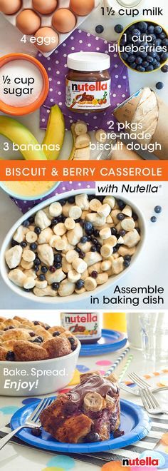Go above & beyond with this biscuit and berry casserole. Using two packages of pre-made biscuit dough, cut each round into quarters. Next, mix the dough with ½ cup sugar, 1 cup blueberries & 3 chopped bananas in a greased baking dish. Separately, whisk 4 eggs & ½ cup milk. Pour over biscuit mixture then cover with aluminum foil and bake for 30 minutes. Uncover & cook for 30 additional minutes or until golden brown. Finish off by spreading a slice with Nutella® and breakfast, you've been…