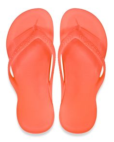 4ec46a86a218f9 Archies Arch Support Thongs – Flip Flops – Orthotic Sandals – Coral Single  Colour top down view (birds eye)