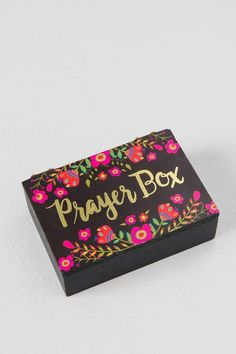 Black and Gold Floral Wooden Prayer Box