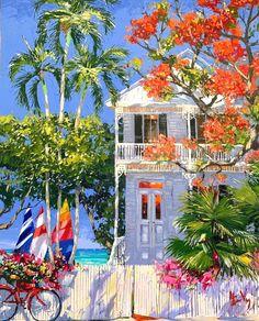Seascape Paintings, Landscape Paintings, Caribbean Art, Dragonfly Art, Cottage Art, Tropical Art, Coastal Art, Print Artist, Beach Art