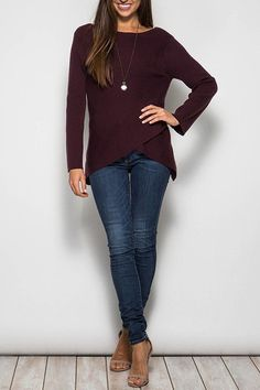 An Awesome Long Sleeve Overlap Surplice Sweater - ShopSoleCentral Marketplace Use coupon Code Holiday20 to receive 20% OFF NOW