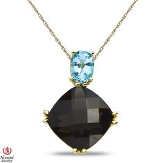 Etsy NissoniJewelry presents - Ladies Pendant and chain with Blue Topaz and Smokey Quartz in 10k Yellow Gold    Model Number:P8396-Y0BTSMQ    https://www.etsy.com/ru/listing/275611948/ladies-pendant-and-chain-with-blue-topaz