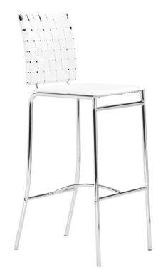 Zuo Modern 333071 Criss Cross Barstool White - Set of 2