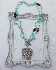 Vintage Rhinestone Heart Assemblage Necklace~