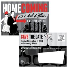 Save the Date design for Save, Inc. KC's charity event with a Mad Men theme.