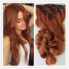 6A Remy Hair Clip In Human Hair Extension Copper Red Wavy Clip-in Hair Extension | eBay