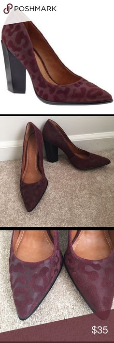 Carrano Burgundy Leopard Heels Carrano Madelyn Velour Leopard Cheetah Cabernet Red Velvet Black Heel Pumps. So cute! In excellent condition! Carrano Shoes Heels