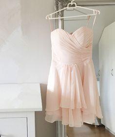 Graceful Short Chiffon Light Pink Simple Prom Dresses