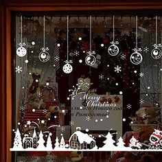 Christmas Window Stickers Cabin Snowflake Merry Christmas Window Decal , Removable DIY Glass Wall Festival Decals Murals Christmas Gift
