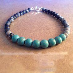 Black Silk Stone Beaded Bracelet with Blue-Green Magnesite Beads by CVioletJewelry