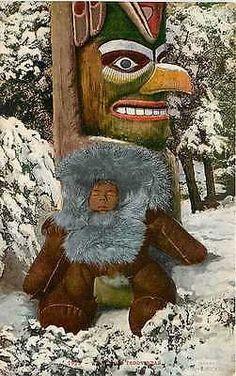 Alaska AK 1908 Totem Pole Eskimo Baby Collectible Antique Vintage Postcard Alaska Circa 1908 Eskimo baby in great winter jump suit propped up against totem pole. Unused Edward H Mitchell antique vinta