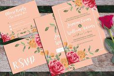 Floral Wedding Invitation + RSVP by iamwulano on @creativemarket
