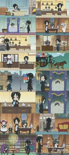 The ending animation broken into tasty tidbits Kuroshitsuji Manga Reading from Chapter 1 to 97 http://www.mangaeden.com/en-manga/kuroshitsuji/ Watch Black Butler Season 1 http://dubbedanime.net/anime/black-butler-english-dubbed Season 2 http://dubbedanime.net/anime/black-butler-ii-english-dubbed Season 3 http://animewaffles.tv/Details-Kuroshitsuji-Book-of-Circus-1327 OVA's http://www.funniermoments.com/tag.php?t=black-butler