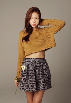 Korean fashion. I'd like to change the sweater color to maybe a forest green. Something not so ugly. But love the style.
