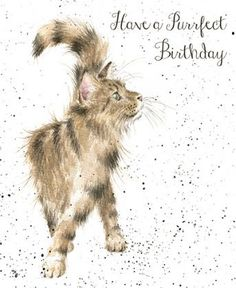 A gorgeous birthday card with a beautiful cat design.The caption reads: Have a purrfect birthday.The wonderful illustration is from a watercolour entitled Just Purrfect by Hannah Dale.The card is blank inside for your own message.The card is print...