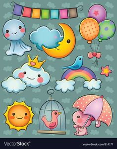 Weather Collection by cute cartoon illustration of various weather Kawaii Doodles, Cute Kawaii Drawings, Cartoon Drawings, Cartoon Illustrations, Moon Cartoon, Cute Cartoon, Griffonnages Kawaii, Petit Tattoo, Baby Clip Art