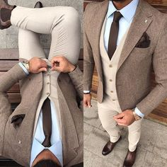 Solid brown skinny necktie, tan waistcoat, tweed jacket, light blue shirt - Tap the link to shop on our official online store! Mode Masculine, Fashion Mode, Daily Fashion, Fashion Hats, Retro Fashion, Style Fashion, Fashion Design, Mens Fashion Suits, Mens Suits
