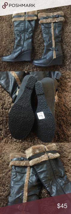 "Faux Fur Trim Knee High Wedge Boots 10W Knee High Boots, Side Zip, Heel 3"", Faux Fur Trim, Black With Tan Fur Trim, Brand New No Box torrid Shoes Winter & Rain Boots"