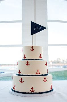 Anchor Wedding Cake!  Baker: European Bakery & Tea Room / Photo: Soggy Dog Designs