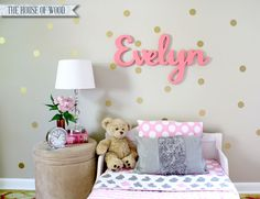 What a cute decoration for a nursery or kid's room-- the child's name in wood. Jen Woodhouse of The House of Wood made it herself with plywood, a jig saw and paint. || @jenwoodhouse
