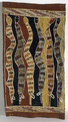 Därrpa (king brown snakes) - Djambarrpuyngu rain story, (circa by Binyinyuwuy Djarrankuykuy Aboriginal Art Animals, Aboriginal History, Aboriginal Artwork, Aboriginal Culture, Indigenous Australian Art, Australian Animals, Indigenous Art, Snake Art, High Art