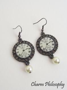 Clock Earrings with Pearls  Gun Metal Grey  by charmphilosophy