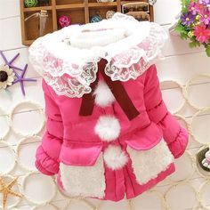 19.52$  Buy here - http://alibz0.shopchina.info/go.php?t=32503222784 - 2015 Baby girl jacket Baby girl autumn winter coat Candy color fashion lace collar lace stitching White Balls infant jackets  #magazineonline