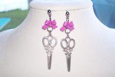 Purple Bow Scissor Earrings by WinningWreaths on Etsy