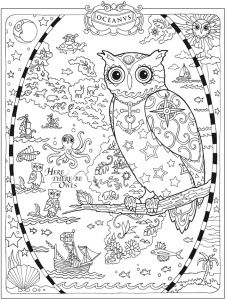 free nautical owl adult coloring page