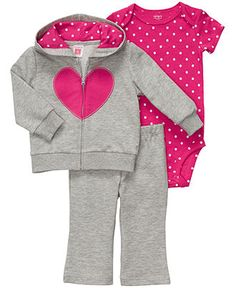Carters Baby Set, Baby Girls 3-Piece Heart and Polka Dot Set - Kids Newborn Shop - Macy's