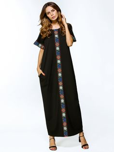 SheIn offers Contrast Embroidered Tape Detailed Maxi Dress & more to fit your fashionable needs. African Attire, African Fashion Dresses, African Dress, Morocco Fashion, Ethnic Fashion, Muslim Fashion, Frock Dress, Hijab Dress, Kimono Design