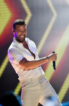 Oh baby, when he moves, he moves. Ricky Martin bangs onstage during a performance at the World Music Awards 2014 on May 27 in Monte Carlo, Monaco