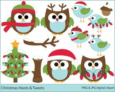 Owls clipart christmas digital clip art birds woodland - Christmas Hoots and Tweets Digital Clipart $5