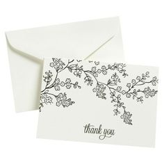 Embroidery Beginners Thank You - 50 Ct Flp Blk Line Floral, Multi-Colored - This card pack has a Thank You theme and contains 50 cards. This off-white card pack features a lovely floral pattern. Cute Cards, Diy Cards, Your Cards, Cute Thank You Cards, Envelopes Decorados, Sympathy Cards, Greeting Cards, Thank You Card Design, Envelope Art