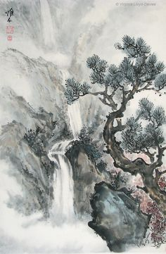 Chinese waterfall and mountain landscapes painted by internationally renowned YouTube artist Virginia Lloyd-Davies. Joyful Brush
