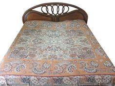 BOHEMIAN PASHMINA BEDSPREAD BEDDING BLANKET RUST FLORAL REVERSIBLE BED THROW…