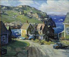 """Monhegan Island,"" Ken Knowles, oil on Masonite, 20 x private collection. Jamie Wyeth, Monhegan Island, Paintings I Love, Plein Air, Painting Inspiration, Cool Art, Scenery, Art Gallery, Illustration Art"
