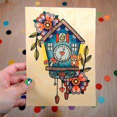 Vintage-Inspired Cuckoo Clock Wood Print