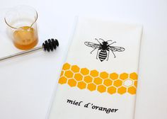 Hand Screen Printed Tea Towel. Kitchen Towel. Orange by titiluli, $15.00