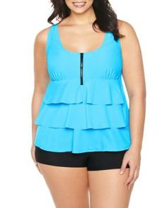 Plus Size Cha cha tiered tankini top Ladies Fashion, Womens Fashion, Tankinis, Tankini Top, My Favorite Color, Swimsuits, Plus Size, Fancy, Turquoise