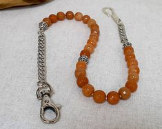 Mens Wallet Chain Orange Aventurine Beaded Wallet Chain Sterling Silver Suit Chain Beaded Money Clip Chain Pocket Watch Chain Gift for Him Beaded Jewelry, Handmade Jewelry, Beaded Necklace, Men's Jewelry, Jewellery, Brass Pendant, Leaf Pendant, Men Accesories, Accessories