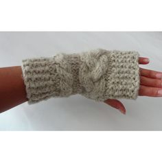 Knit Fingerless Gloves with cables going across the hand.