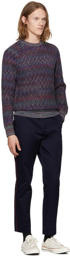 Missoni - Navy Zig Zag Crewneck Sweater