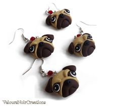 pug earrings handmade in polymer clay