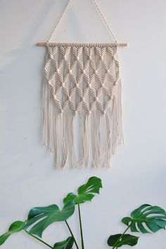 "Amazon.com: Arrow Pattern Macrame Woven Wall Hanging - Gypsy BOHO Chic Bohemian Hippie Aztec Tribal Wall Art Decor - Living Room Bedroom Nursery Decoration - Apartment Studio Dorm Room Wall Decor, 12""W x 22""L: Home & Kitchen"